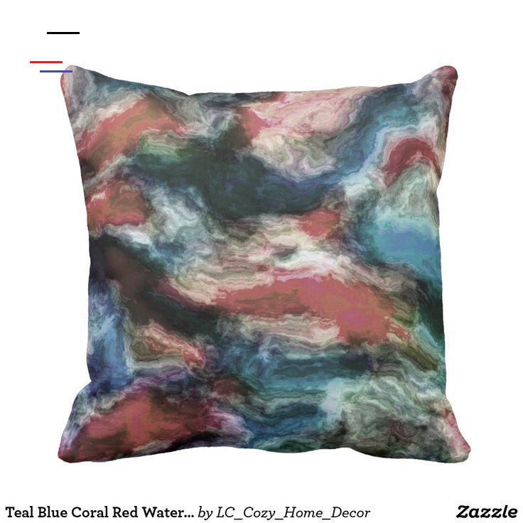 Teal Blue Coral Red Watercolor Swirls Art Pattern Throw Pillow Beautiful contemporary swirl waves motif. Original modern wavy abstract home interior décor accent design for decorating your master bedroom, living or family room, man cave, college dorm, condo, studio or apartment #Decor #Homedecor #Interiordecor #Homeinteriordecor #Manly #Masculine #Cushion #Throwpillow #Pillows #Masculinedecor #Manlydecor #Abstractart #Abstractdecor #Moderndecor #Livingroom #Ideas #Eclectic #Eclecticdecor<br> Bea