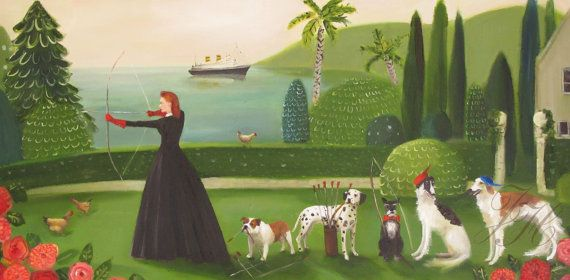Miss Moon Was A Dog Governess.  Lesson Five  by janethillstudio, $38.00