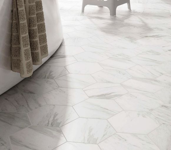 Hexagon tile carrara imitation spanish porcelain floor tiles from kalafrana ceramics sydney Marble hex tile bathroom floor