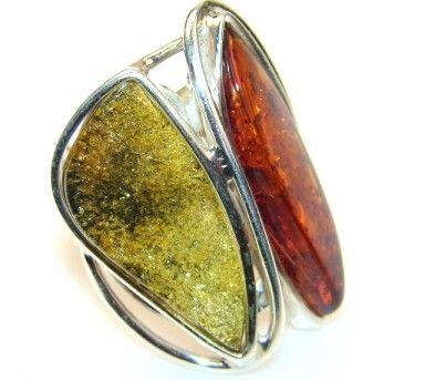 Lovely Polish Amber Sterling Silver Ring s. 6 - Adjustable