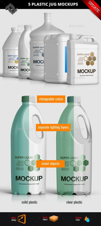5 Plastic Jug Gallon Mockups Plastic Jugs Packaging Mockup Mockup