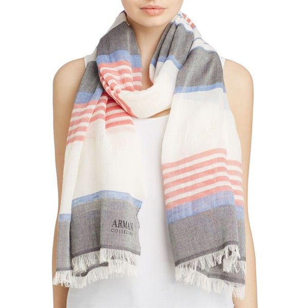 Armani Collezioni Multi-Stripe Scarf ($205) ❤ liked on Polyvore featuring accessories, scarves, fringe scarves, fringe shawl, striped scarves, striped shawl and armani collezioni