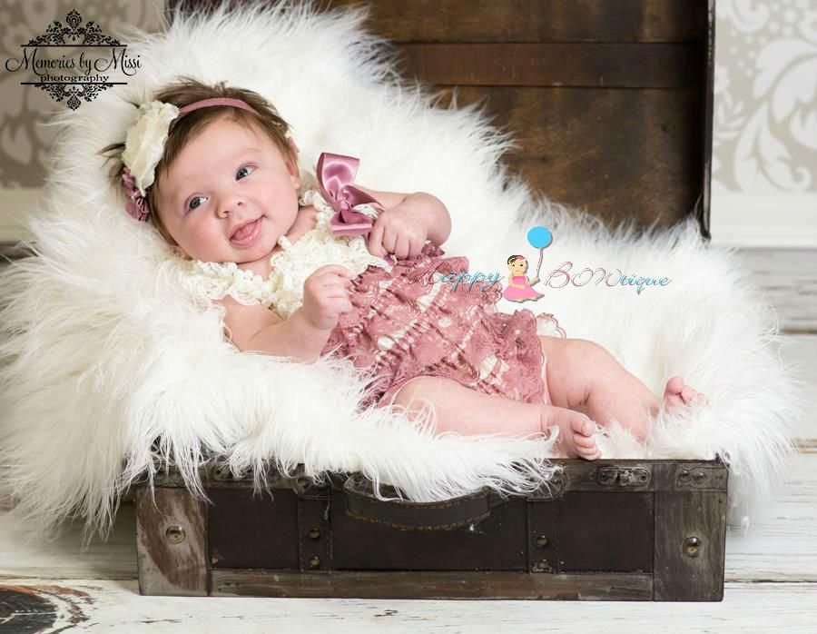 84dffa594c93 Dusty Ivory Rose Petti Lace Romper - Happy BOWtique - children s clothing