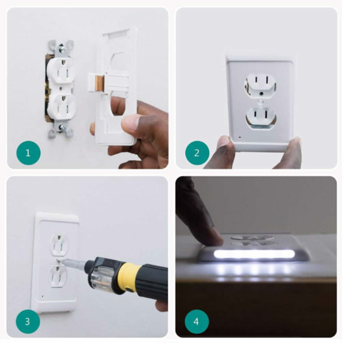 Outlet Wall Plate With Led Night Lights No Batteries Or Wires Urlittledream In 2020 Led Night Light Night Light Plates On Wall