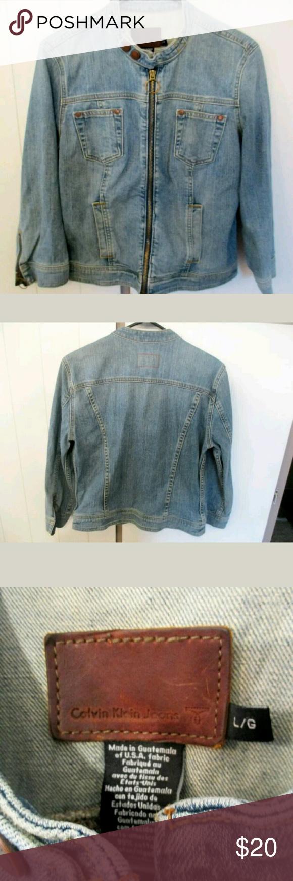 Calvin klein denim moto jacket True to size.. not much