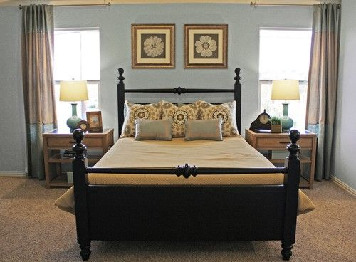 Don't like the framed flowers or the patterned pillows on the bed.  Guest Room 2 - traditional - bedroom - dallas - Cristi Holcombe