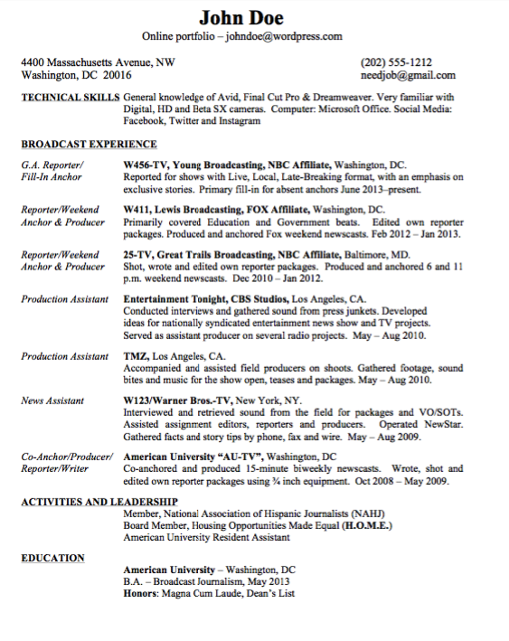 Example Resume For Broadcast Journalism Free Resume Sample Broadcast Journalism Resume Resume Template Examples