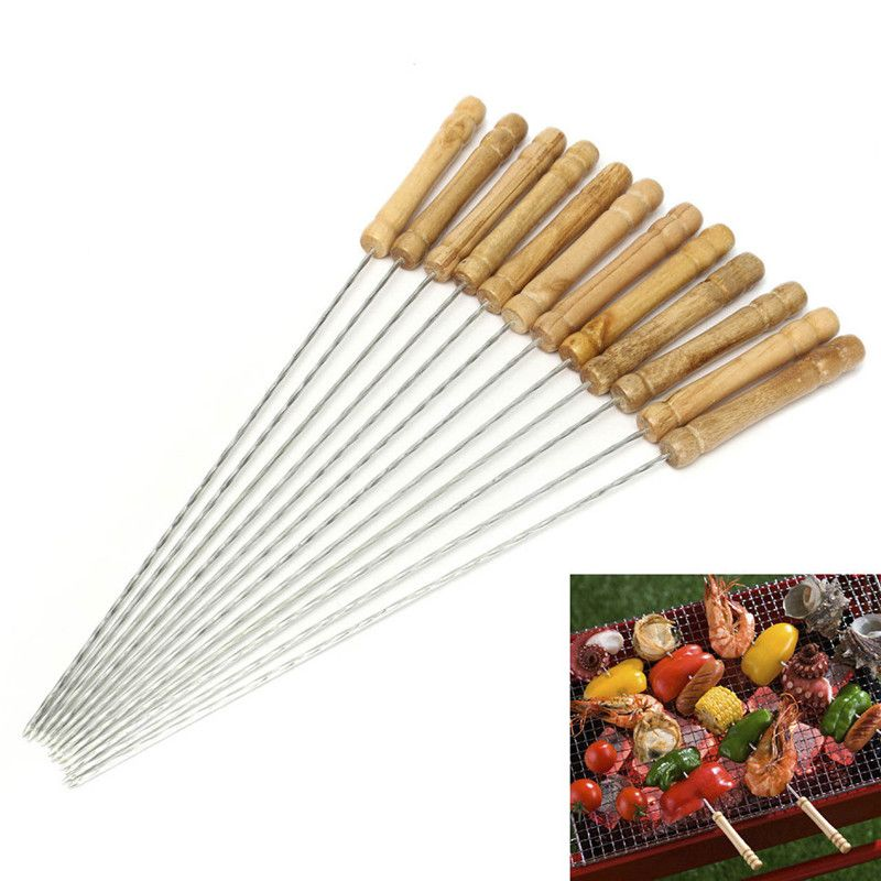 10Pcs Barbecue Skewer BBQ Needle Sticks for Outings Cooking Garden Tools