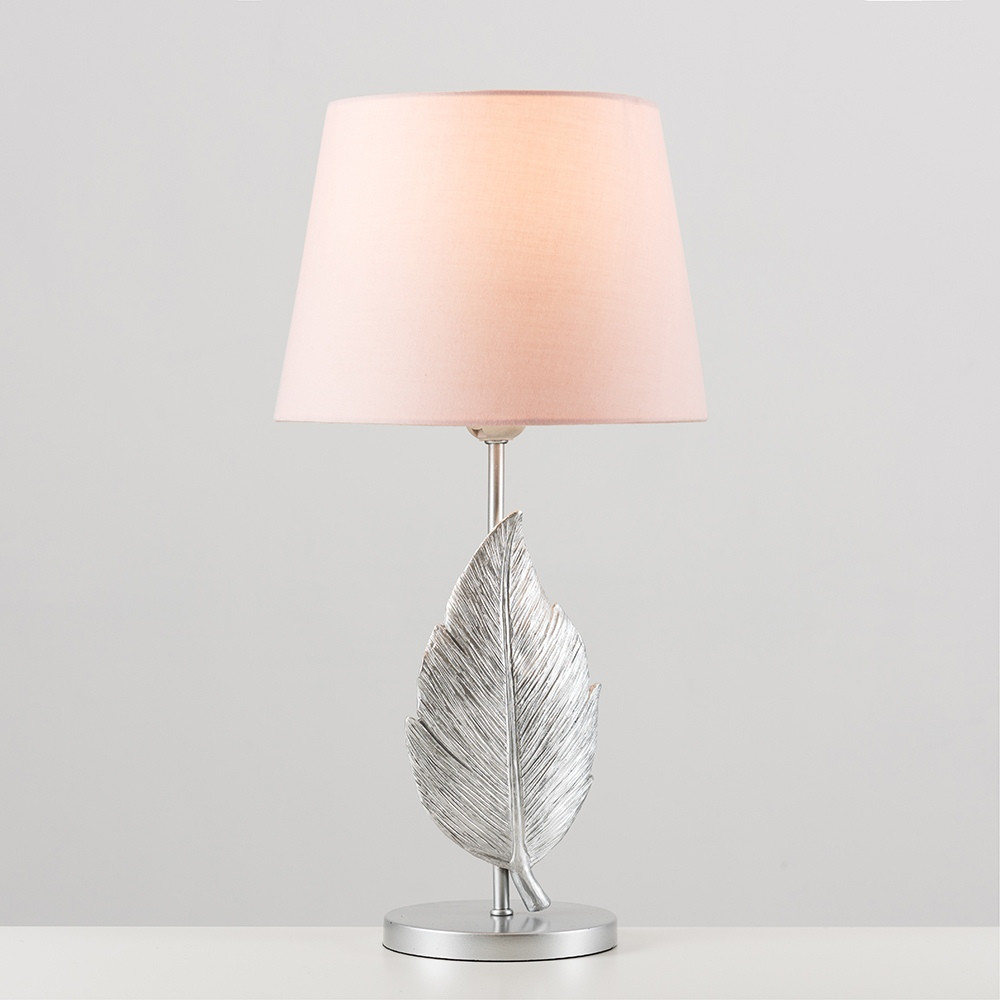 Ploma Silver Feather Table Lamp With Dusty Pink Aspen Shade In