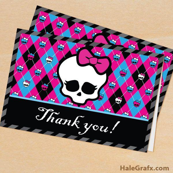Free Printable Monster High Thank You Card Free Printables
