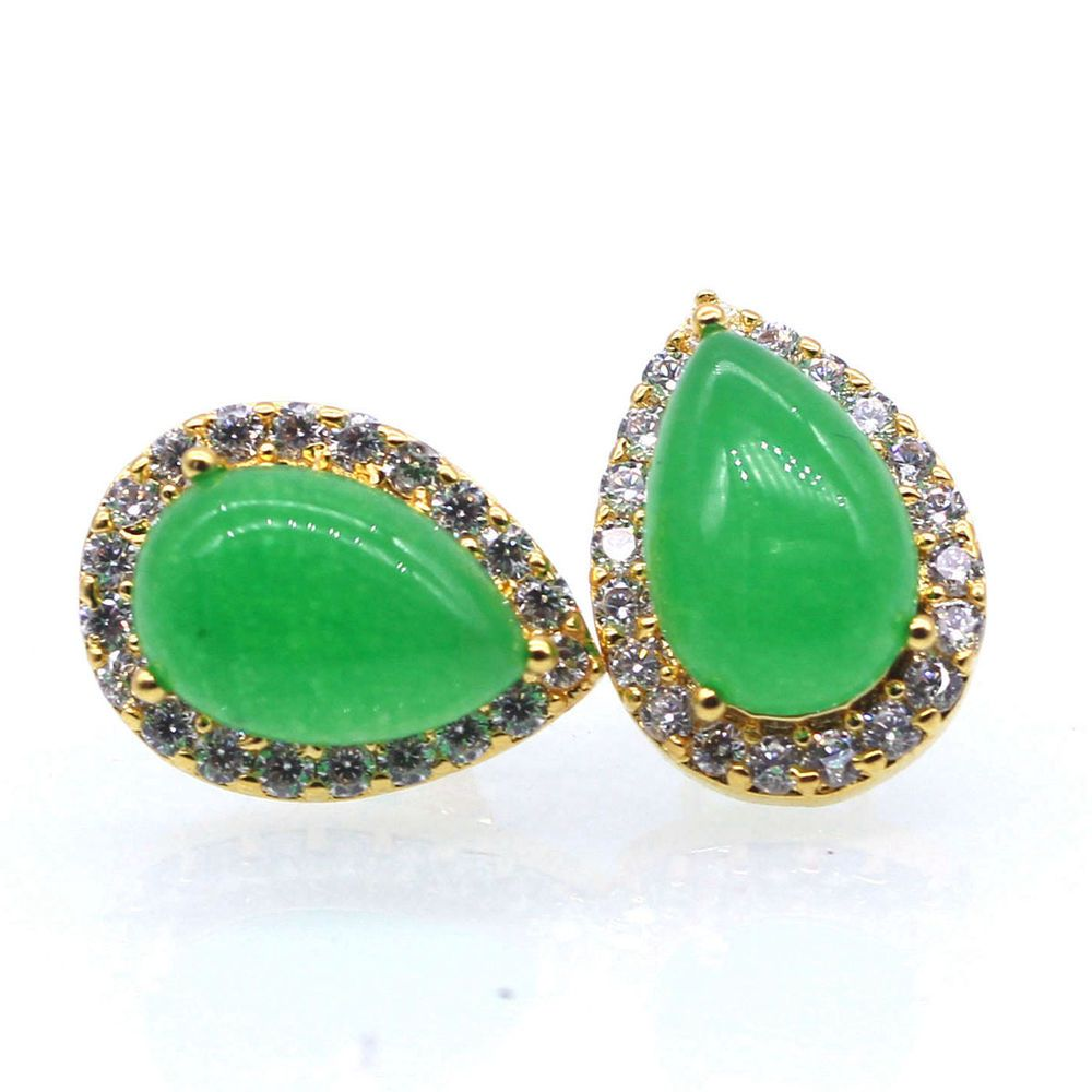 Charm drop jade crystal stud earrings k gold plated women lady ear