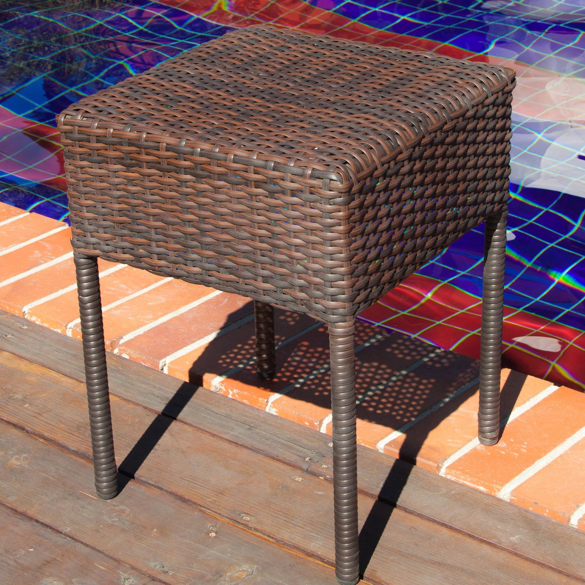 Sa Wicker Outdoor Side Table Black Accent Patio Furniture Iron
