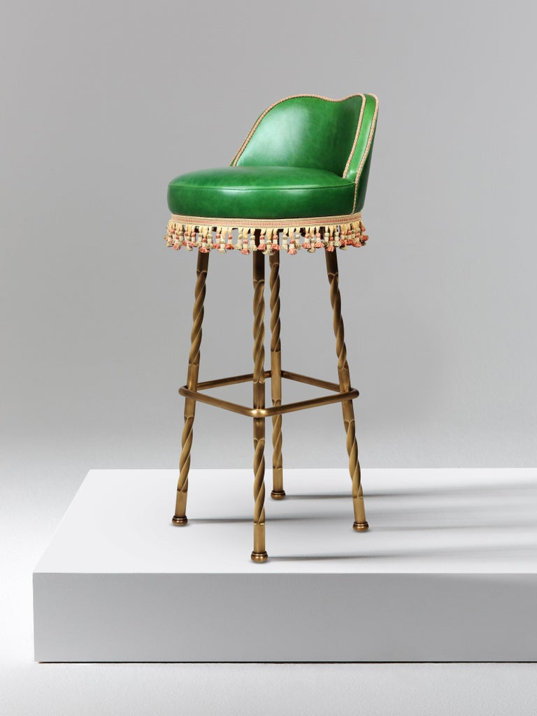 And Objects Horton Bar Stool Upholstered Leather With Solid Brass