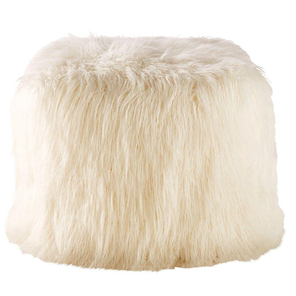 pouf en fausse fourrure blanche