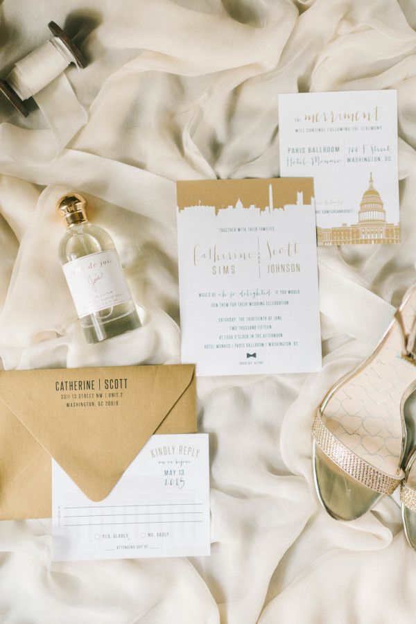 Glam metallic gold wedding details: http://www.stylemepretty.com/washington-dc-weddings/2016/03/07/classic-black-white-d-c-wedding-ballroom-wedding-with-pops-of-pink/ | Photography: Elizabeth Fogarty - http://www.elizabethfogartyphotography.com/