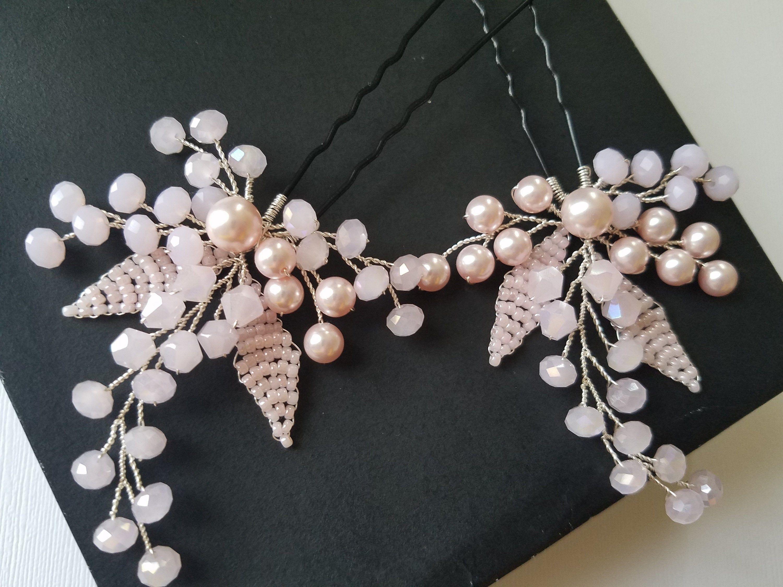 Blush Pink Hair Pins Bridal Pink Hair Piece Wedding Headpiece