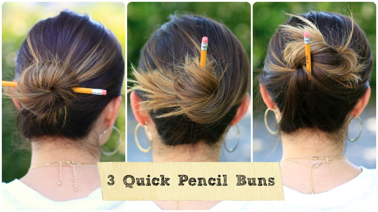 Enjoyable Three Quick Pencil Buns Back To School Hairstyles And More Hairstyles For Men Maxibearus