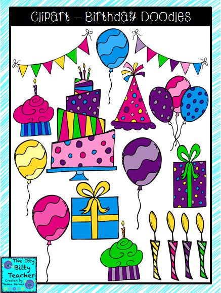 Itty Bitty Teacher Birthday Clipart Sets Birthday Clipart Clip Art Birthday