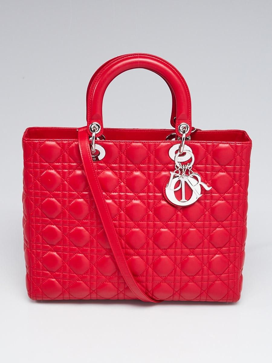 e286507a4a Christian Dior Red Cannage Quilted Lambskin Leather Large Lady Dior Bag -  Yoogi's Closet
