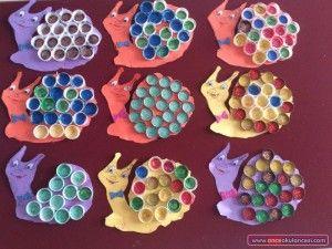 Bottle Cap Snail Craft Idea For Kids 2