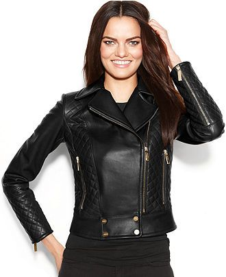 Calvin Klein Leather Quilted Asymmetrical Moto Jacket - gorgeous, love the  muted sheen to the black leather. Extra 15% off sale price right now at  Macy s ... 9295ece190cf