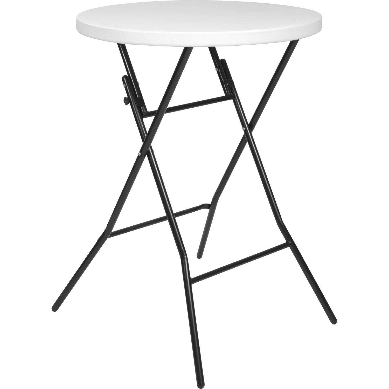 Table de jardin de repas Mange debout ronde blanc 4 ...