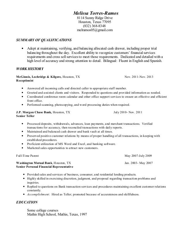 teller resume sample amp writing tips samples for bank position - sample of bank teller resume