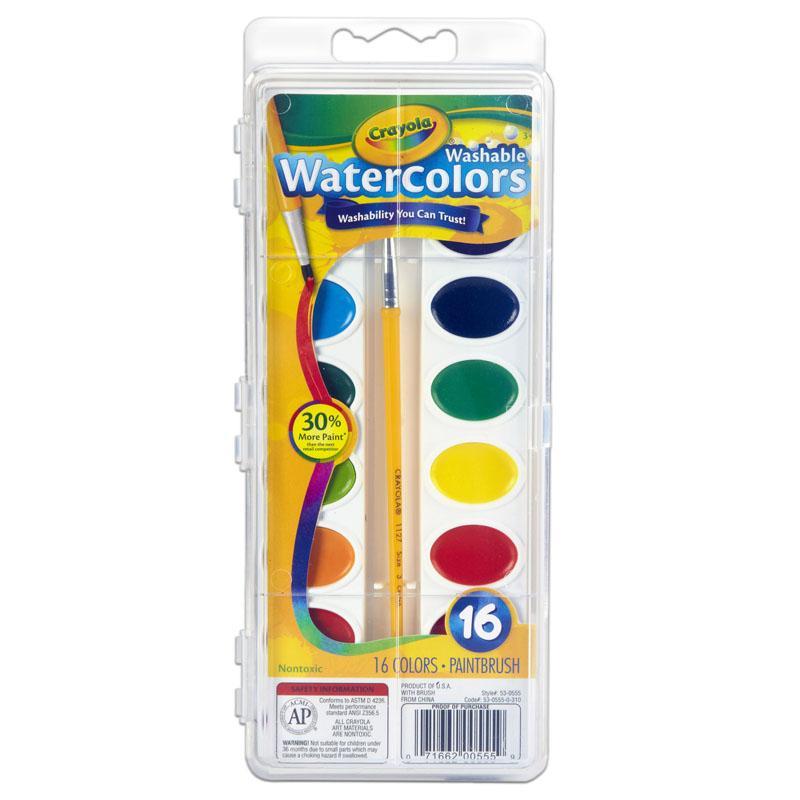 Crayola Artista Semi Moist Oval Pans Watercolor Set With Brush 8