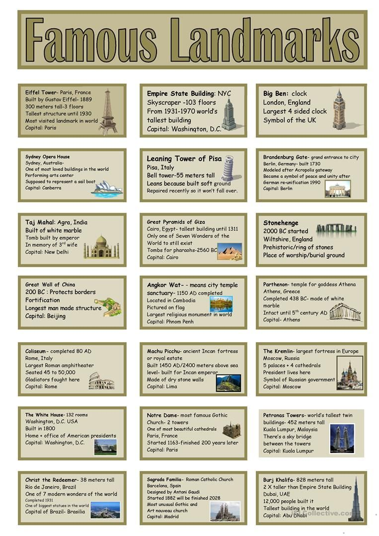 small resolution of Famous Landmarks Vocabulary Cards   Famous landmarks