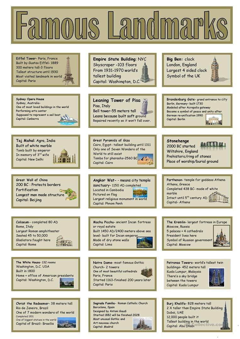 famous landmarks vocabulary cards worksheet free esl printable worksheets made by teachers. Black Bedroom Furniture Sets. Home Design Ideas
