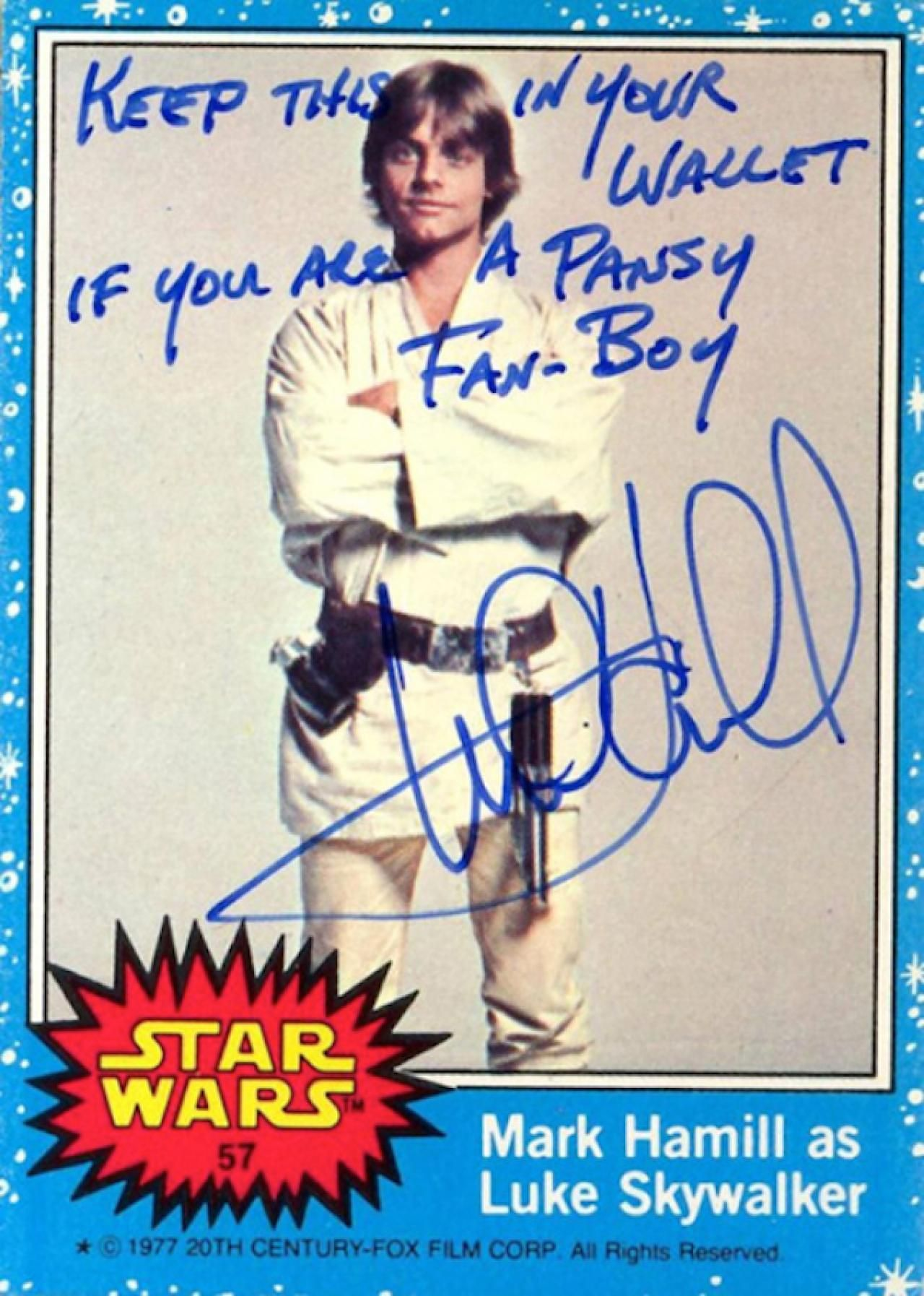 Mark Hamill s hilarious Star Wars trading card autographs