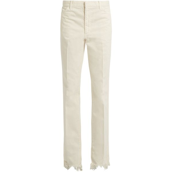 Toga Frayed-hem straight-leg jeans ($270) ❤ liked on Polyvore featuring jeans, white, slim straight leg jeans, stretch straight leg jeans, white high waisted jeans, high-waisted jeans and frayed-hem jeans