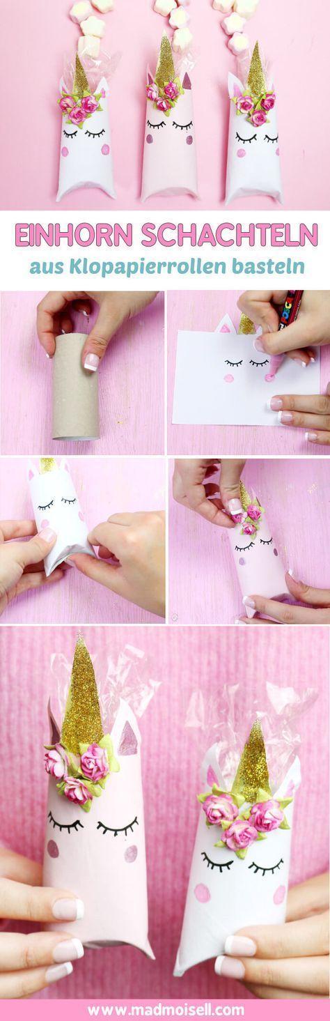 Einhorn Schachtel aus Klopapierrollen falten – DIY Geschenkverpackung #purses