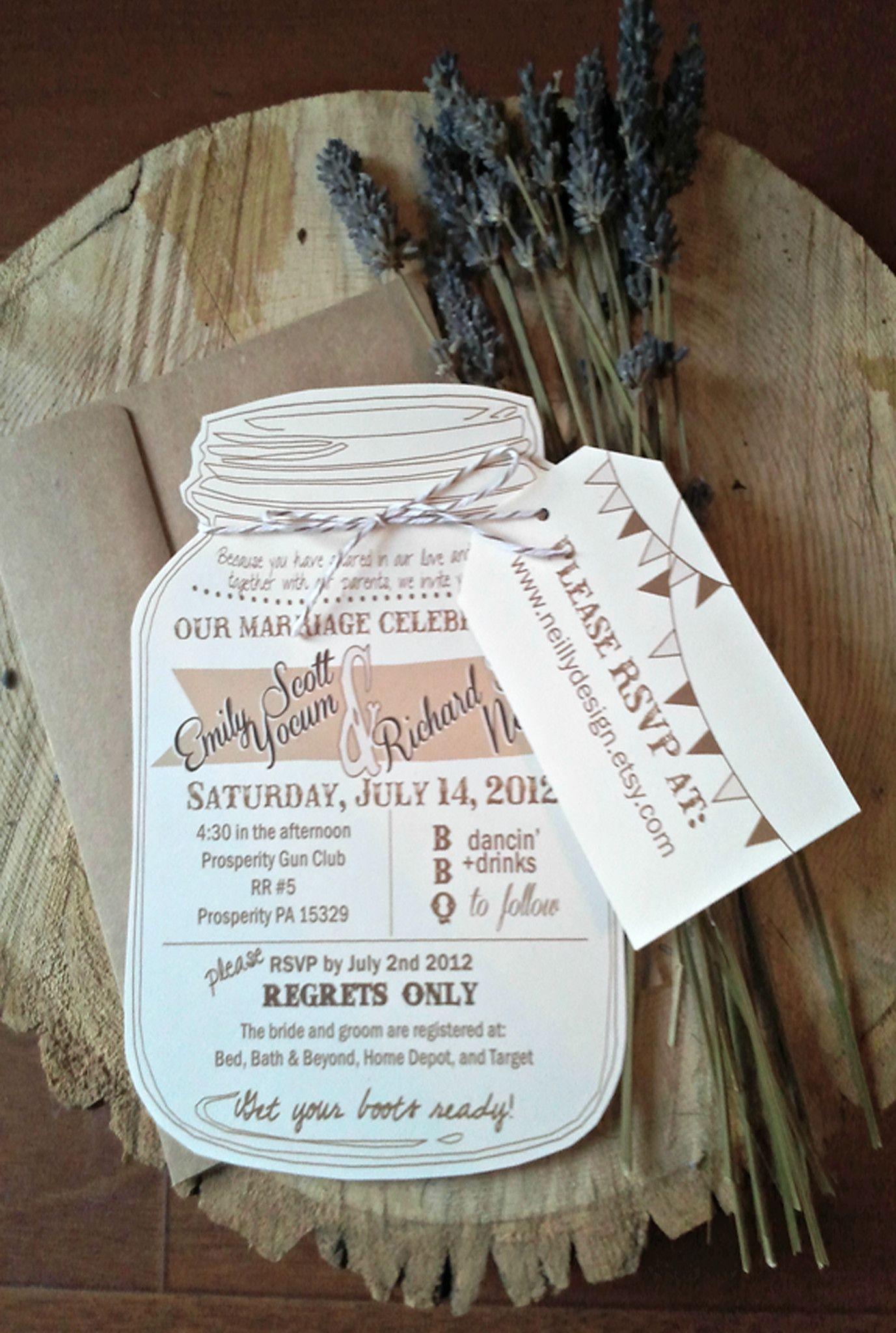 Mason Jar Wedding Invitation with RSVP Luggage Tag | Wedding ...
