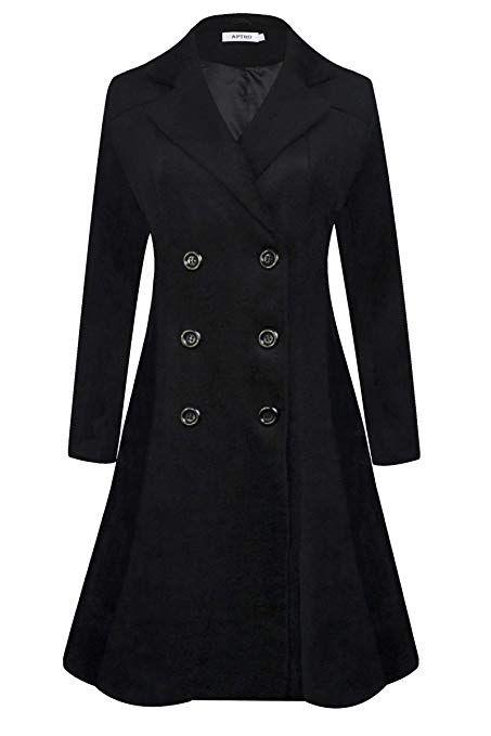 ELESOL Women Swing Wool Trench Pea Coat Lapel Wrap Winter Long Overcoat w//Belt