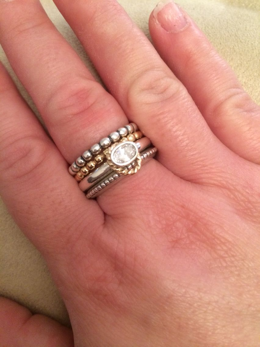 Pandora stacking rings - love the mix of gold and silver ...