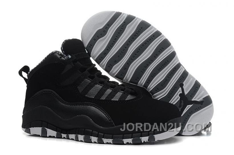 new product 15023 35fc7 Pas Cher Nike Air Jordan 10 Kids Noir 2014 Chaussures Enfants En Ligne Blanc  Jordan 11