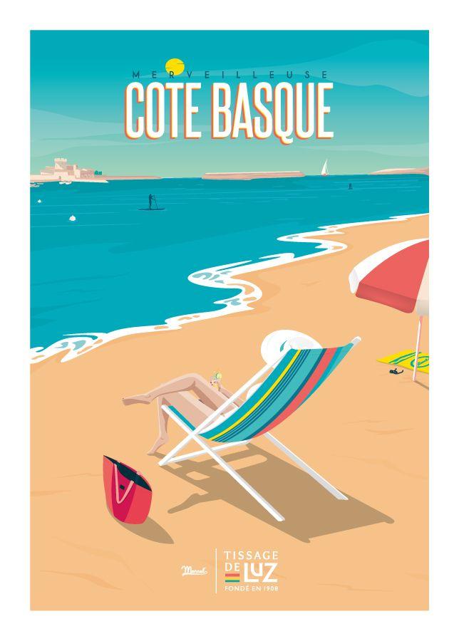 Marcel X Tissage De Luz Merveilleuse Cote Basque Www Marcel Biarritz Com Vintage Travel Posters Travel Posters Vintage Posters