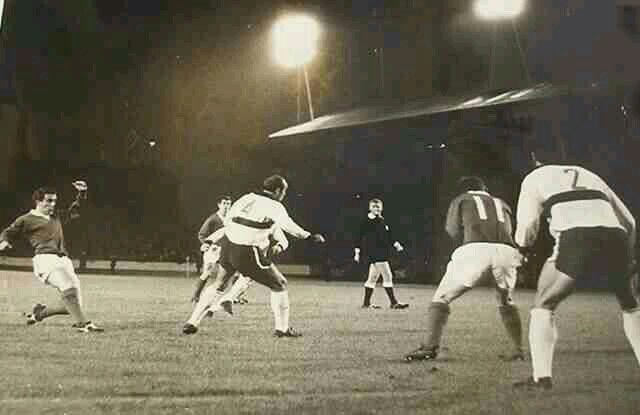 Rangers 2 Dynamo Dresden 1 (3-2 agg) in Oct 1967 at Ibrox. Action from the Fairs Cup 1st Round, 1st Leg tie.