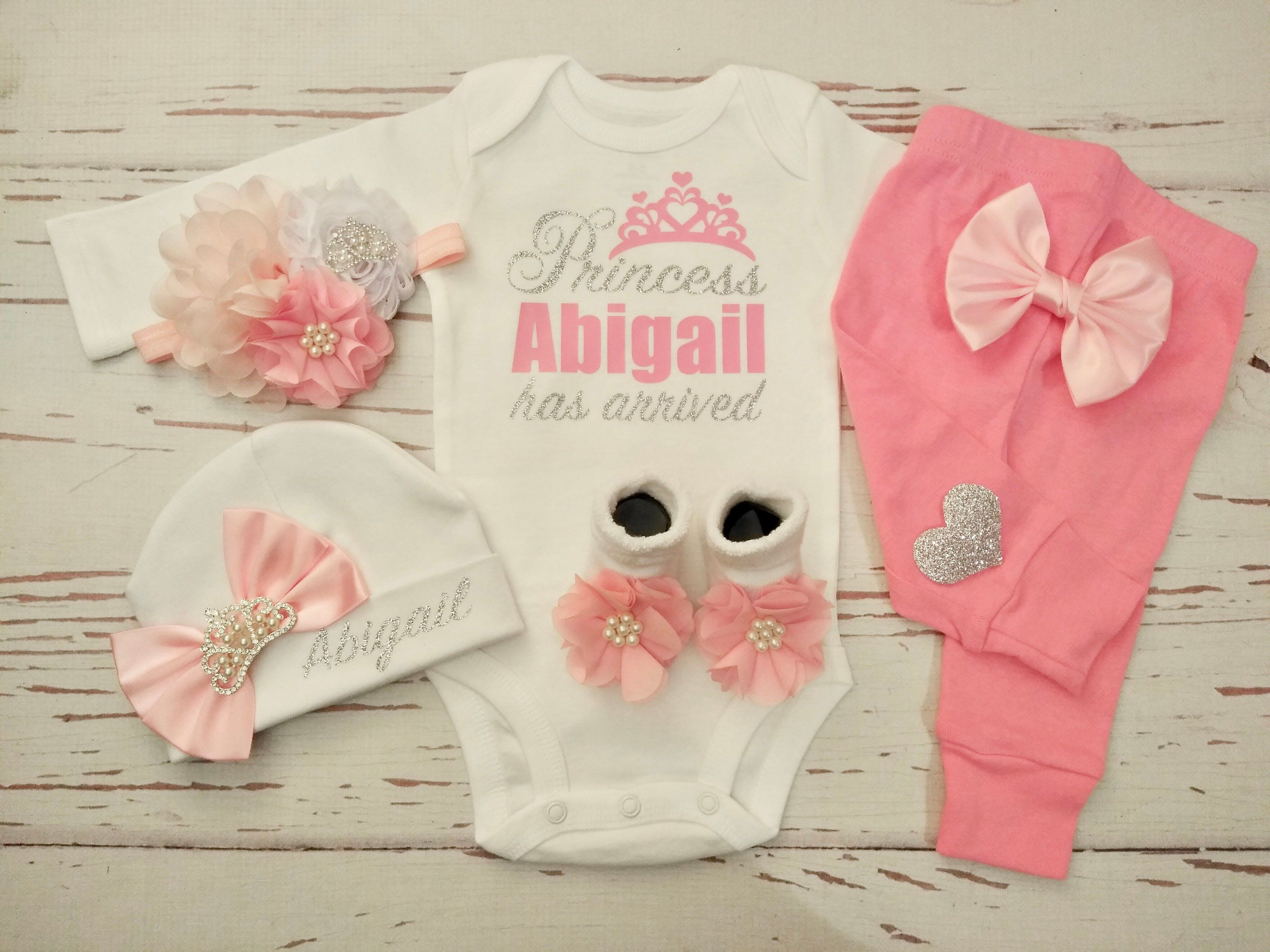 Baby Girl Clothes Newborn Girl Outfit Personalized Baby Girl Coming Home Outfit Floral Organic Floral Outfit Monogramed Outfit