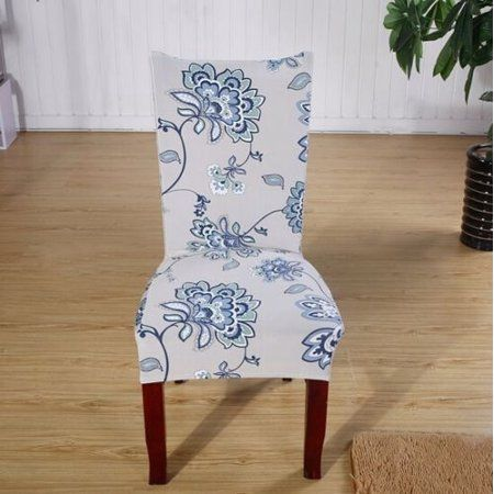Chair Covers Soft Spandex Fit Stretch Short Dining Room With Printed Pattern Banquet Seat Protector Slipcover For Hone Party Hotel