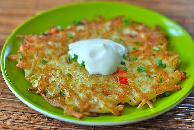 Potato pancakes made with hashbrown potatoes.