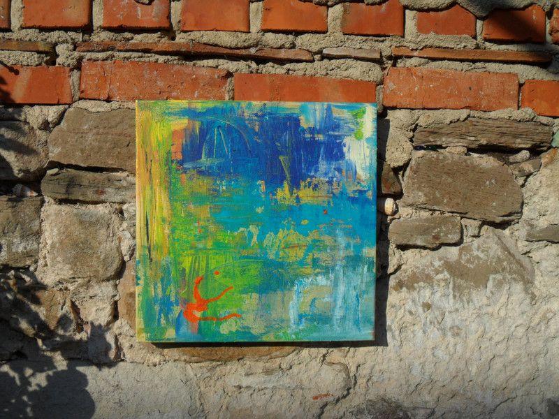 Bilderrahmen - Bild, blau, gold, abstrakt, Bilderrahmen, türkis ...