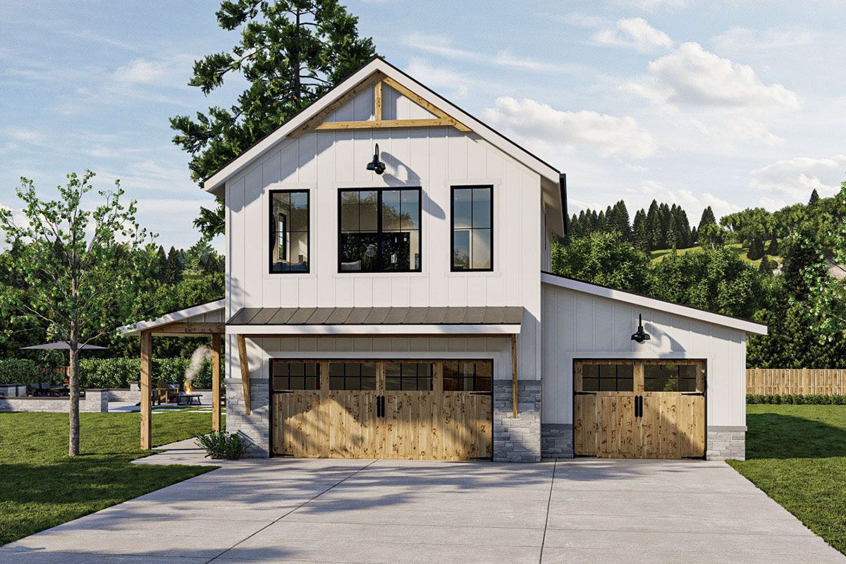 New American Garage Apartment Plan with Barndominium Styling