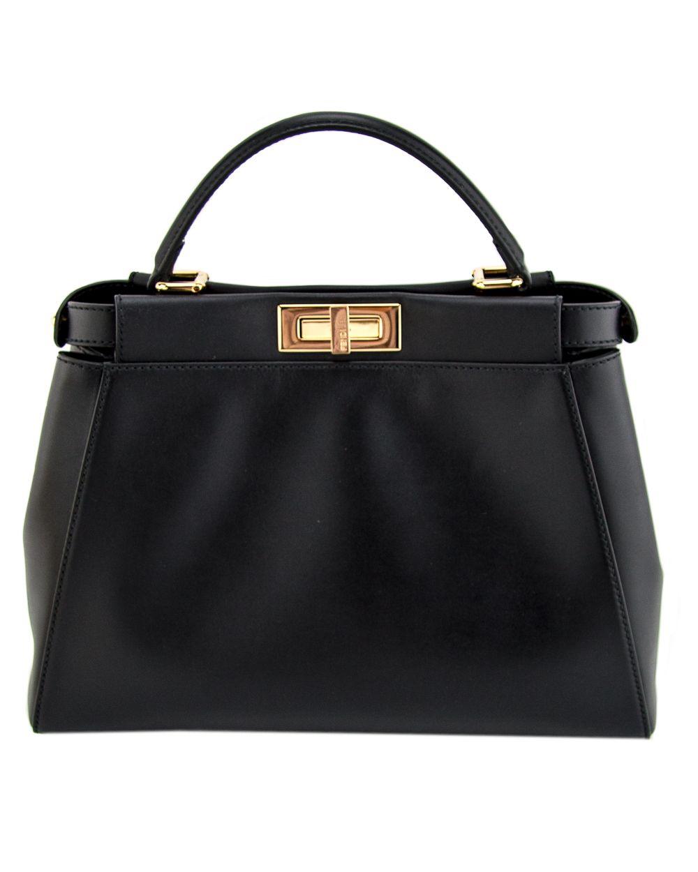 cb8e3cc8dfa2 Fendi Black Large Nappa Leather Peekaboo Tote Front and back turn-lock  closure Gold-