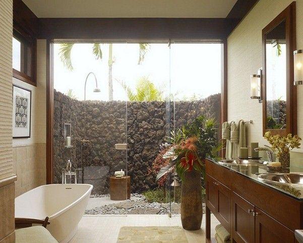 Salle de bain tropicale recherche google salle de bain tropical bathroom decor tropical - Salle de bain tropicale ...