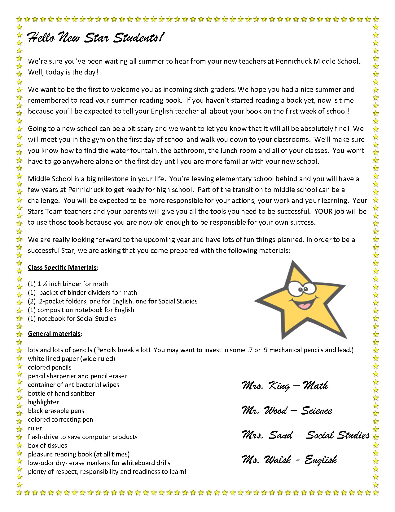 Teacher Welcome Letter To Students  Stars Team Welcome Letter