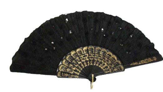 Amazon.com: Folding Fan with Sequins (Black with Black sequins): Clothing