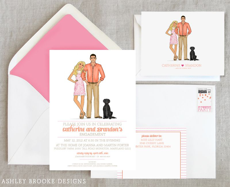 New Custom Illustration} Pink + Orange Engagement Party - engagement party invites templates