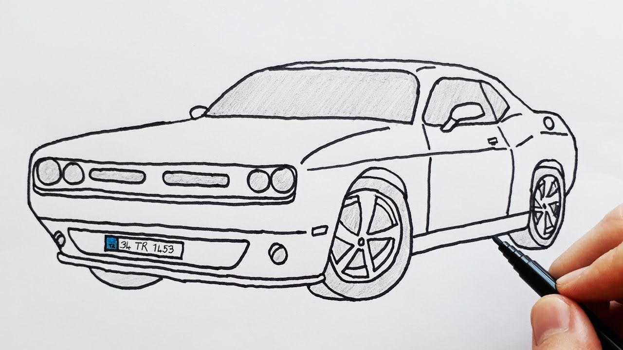 How To Draw Dodge Sports Luxury Car Easy Drawing Cars Basit Spor Araba Cizimi In 2020 Car Drawings Sports Cars Luxury Car Drawing Easy
